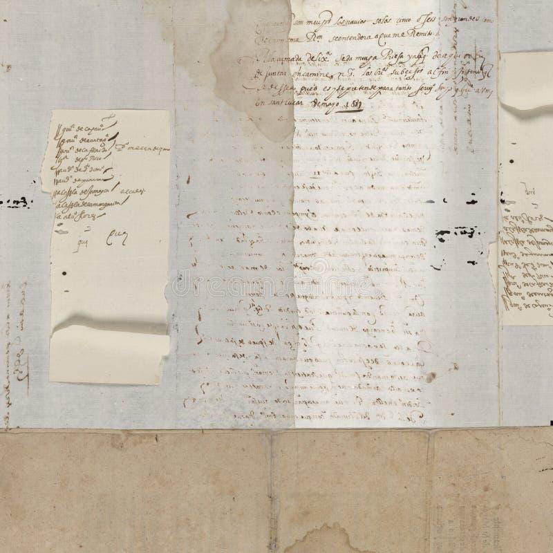cru antique des textes d'exposé introductif photographie stock libre de droits