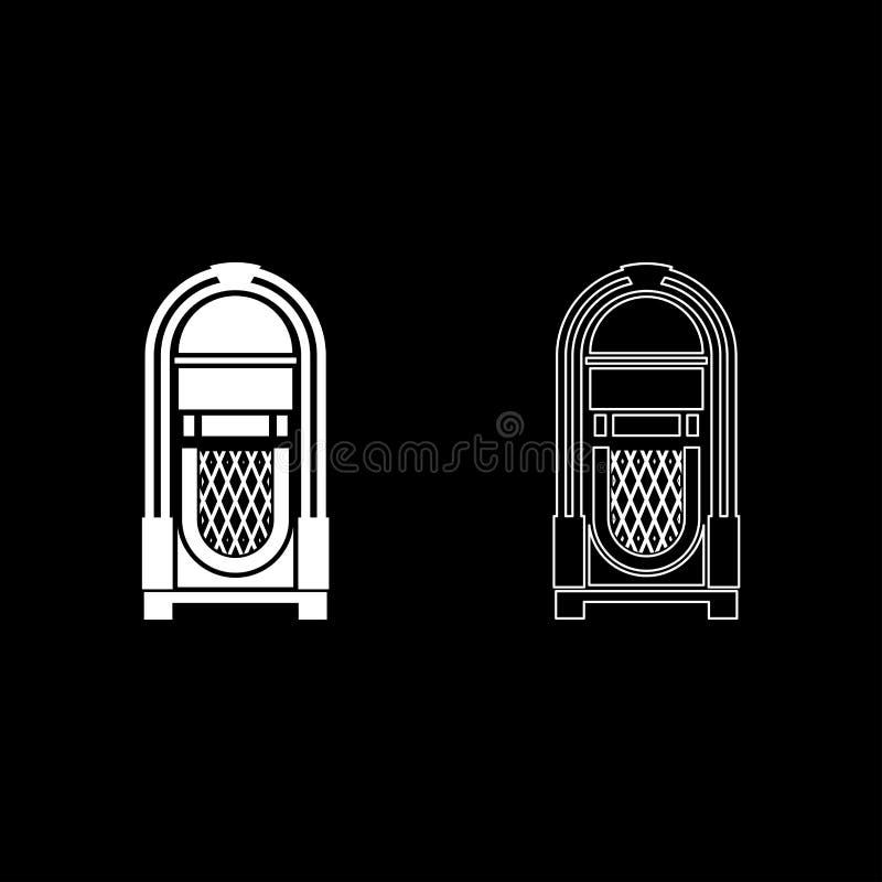 Cru de concept de musique automatisé par juke-box de juke-box le rétro jouant le contour d'icône de dispositif a placé le style p illustration libre de droits