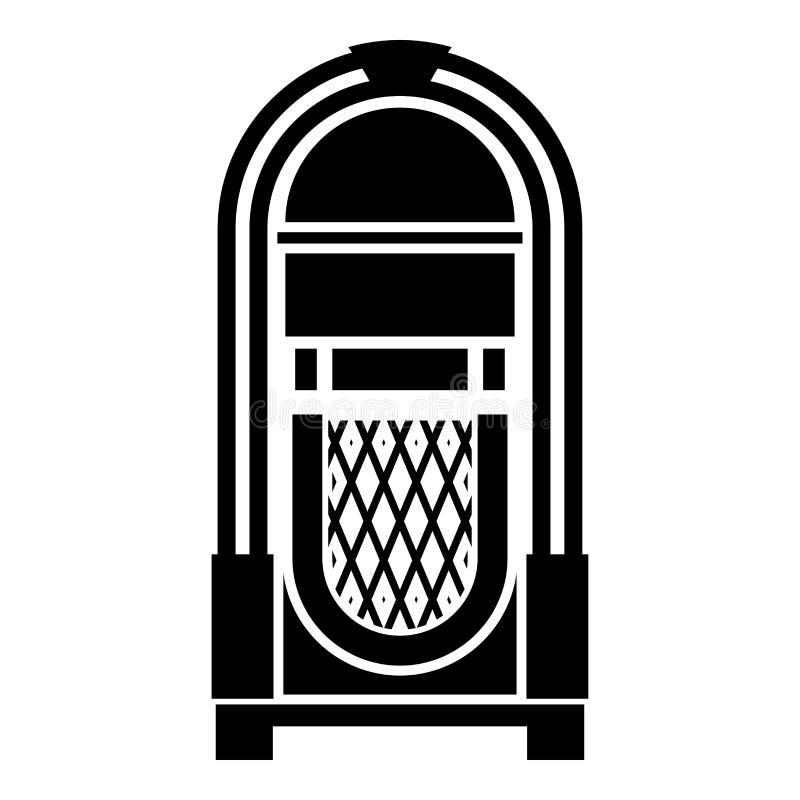 Cru de concept de musique automatisé par juke-box de juke-box rétro jouant l'image plate de style d'illustration de vecteur de co illustration libre de droits