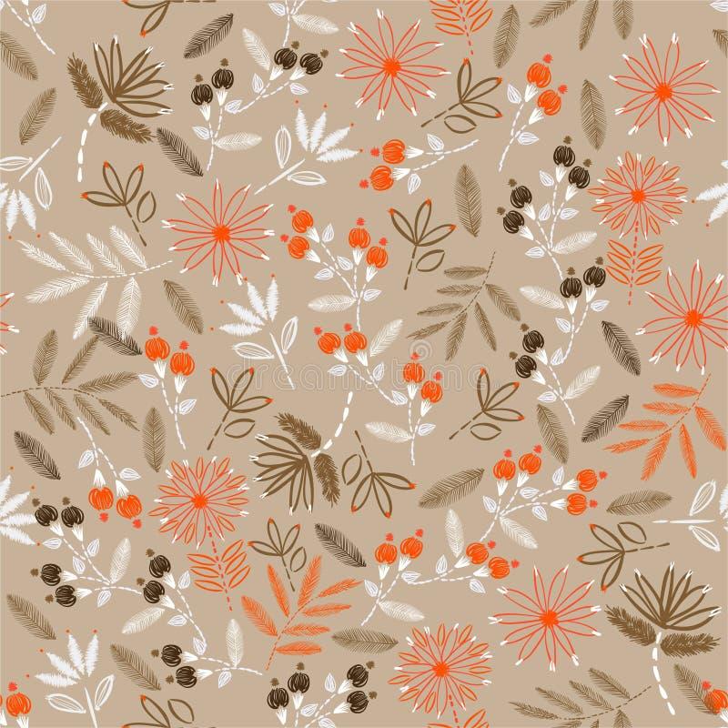 Cru de la floraison du modèle sans couture de broderie sensible floral dans la conception piquante d'humeur de main de vecteur po illustration de vecteur