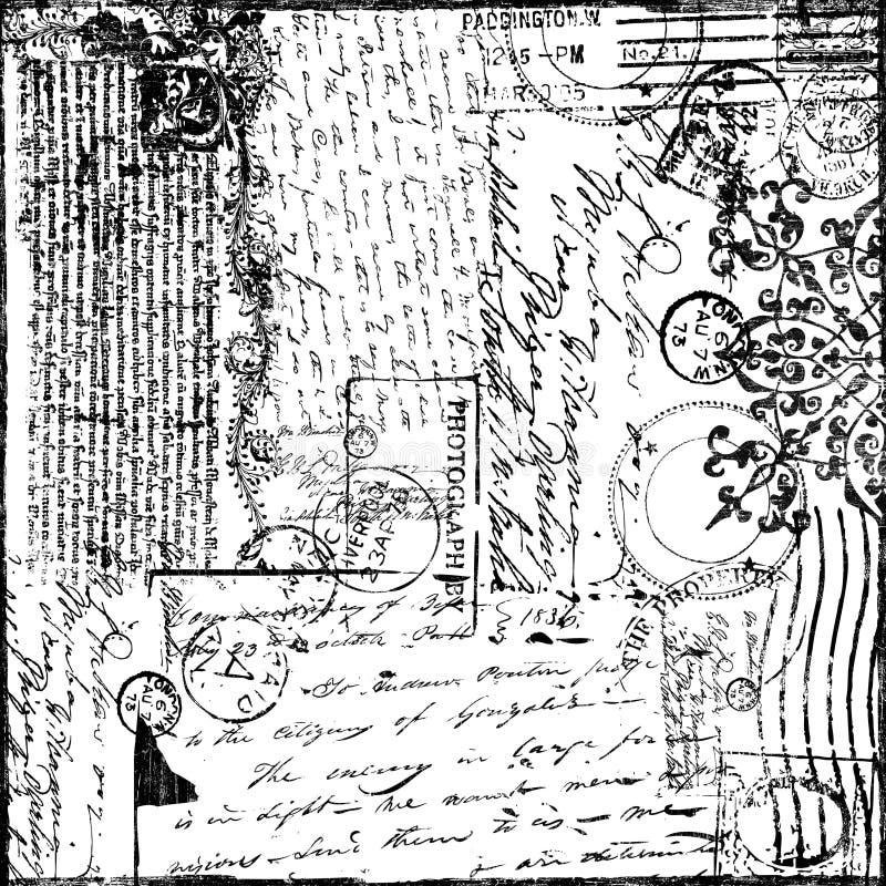cru de victorian des textes de papier de collage de fond illustration de vecteur