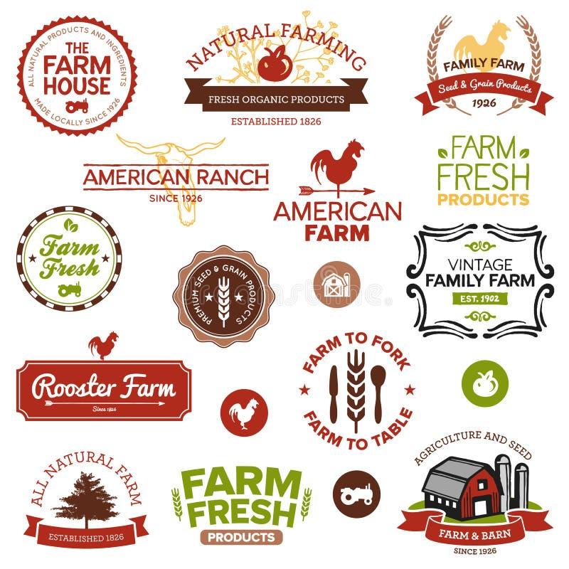 Cru et étiquettes modernes de ferme illustration stock