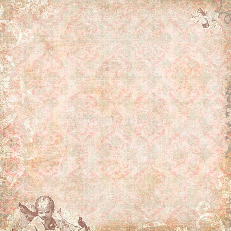 Cru floral et papier peint d'anges image stock