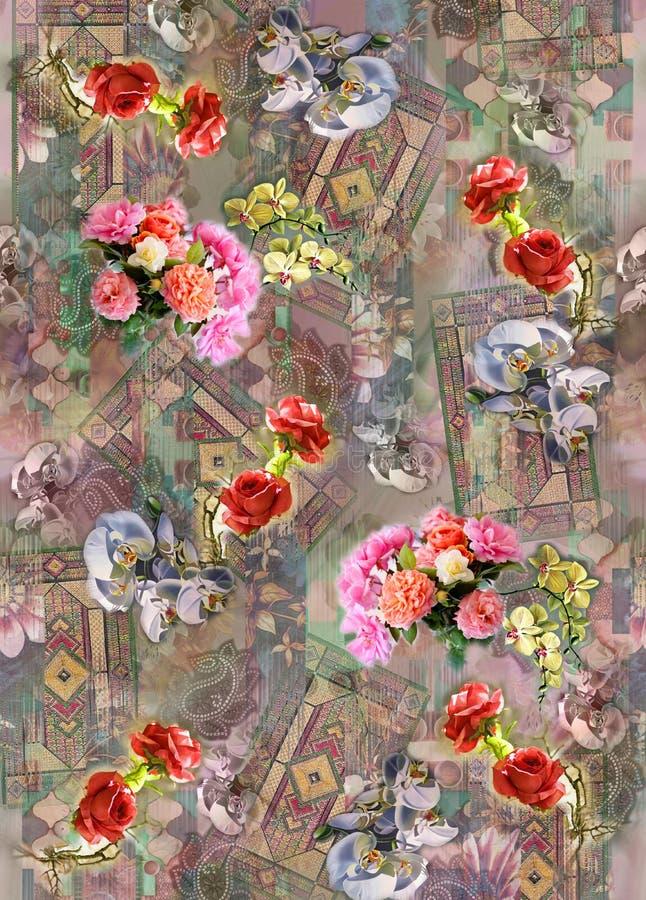 Cru num?rique de graphiques mignons d'image de mod?le de couleur de fond de fleur color? illustration stock