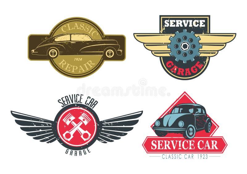 Cru ou rétros signes pour des services des réparations de voiture illustration de vecteur