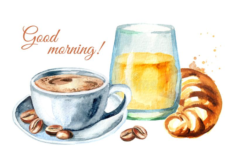 Cruasán francés tradicional del desayuno de la mañana, zumo de naranja, taza de café, granos de café Tarjeta de la buena mañana libre illustration