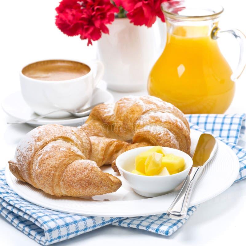 Cruasanes frescos con la mantequilla para el desayuno fotografía de archivo