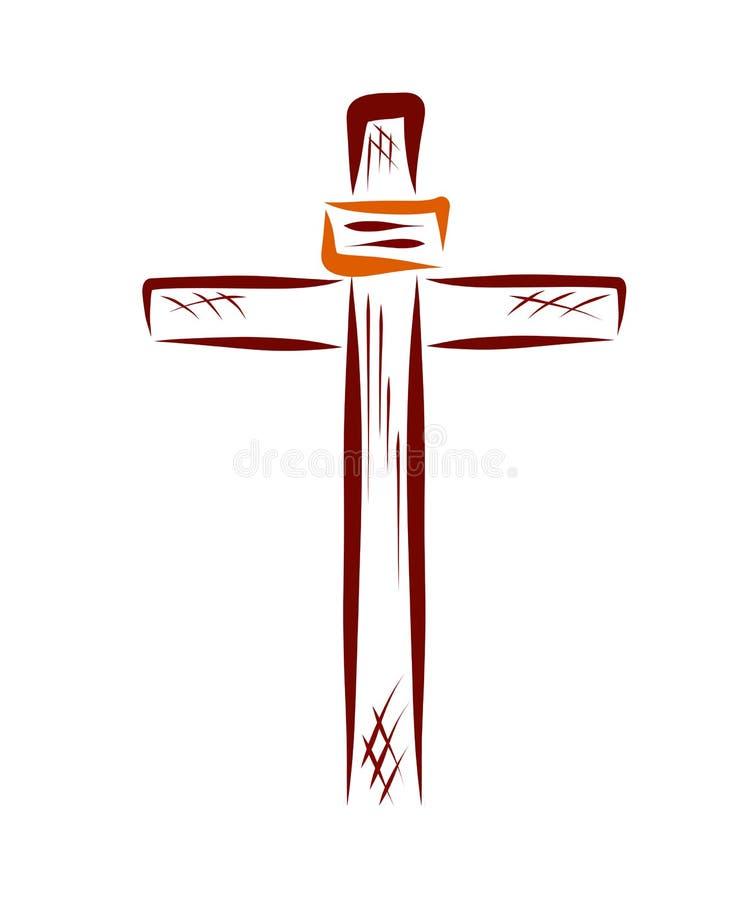 Cruce con una muestra, símbolos cristianos, religión libre illustration