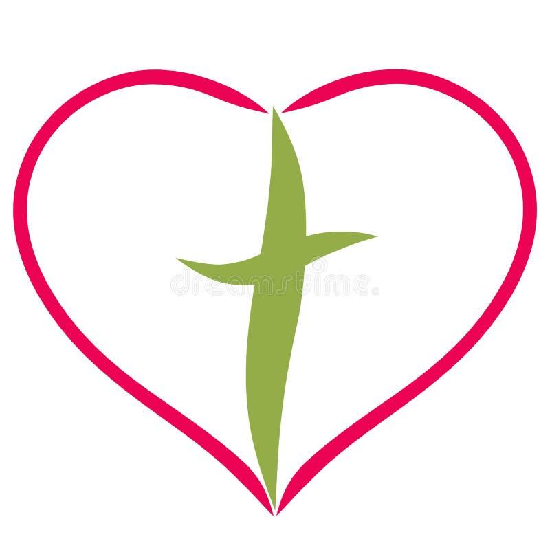 Cruce en el marco bajo la forma de corazón, líneas lisas ilustración del vector