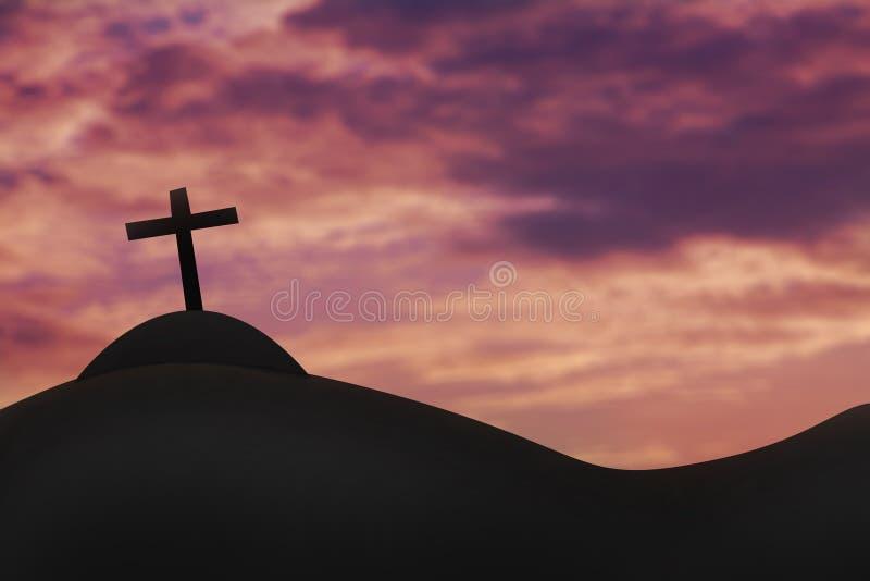 Cruce en una colina y el cielo santo foto de archivo