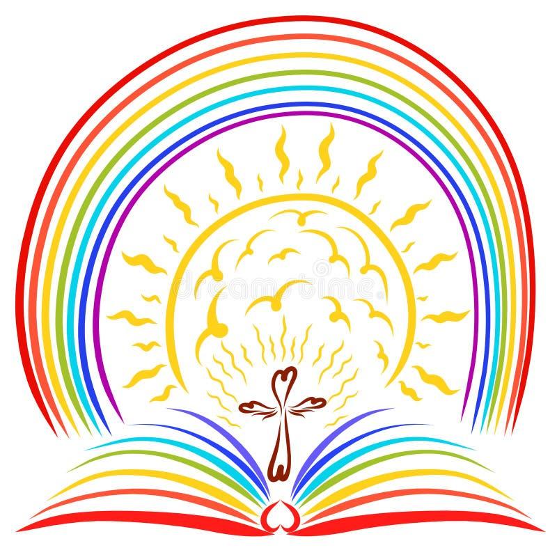 Cruce encima un libro abierto del arco iris, un sol brillante y un arco iris stock de ilustración