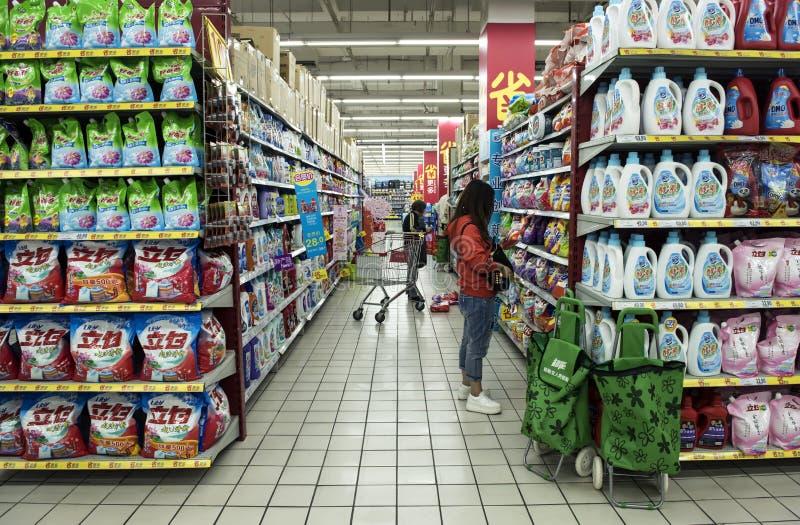 Cruce, supermercado francés, Shangai foto de archivo