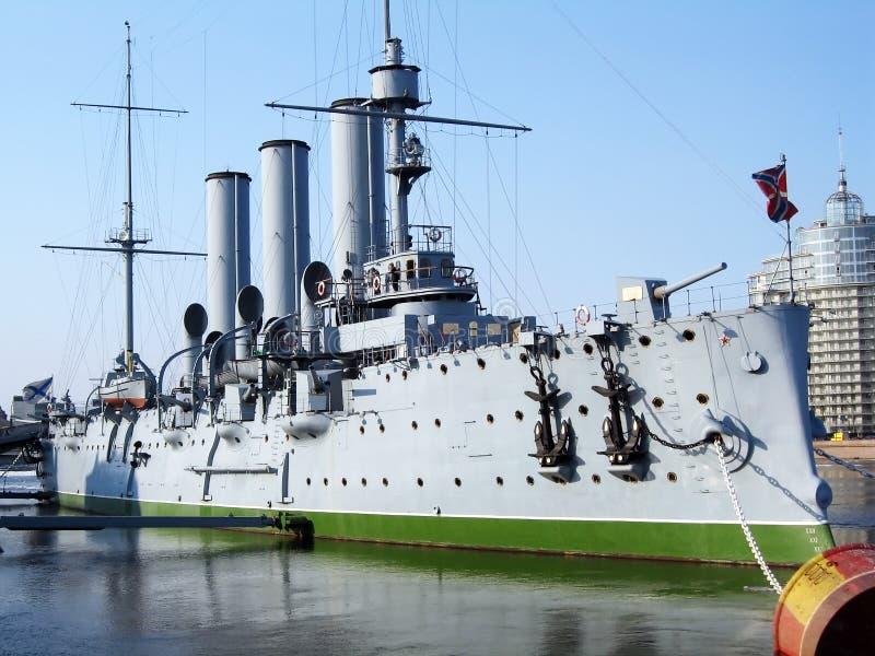 Crucero Avrora imagenes de archivo