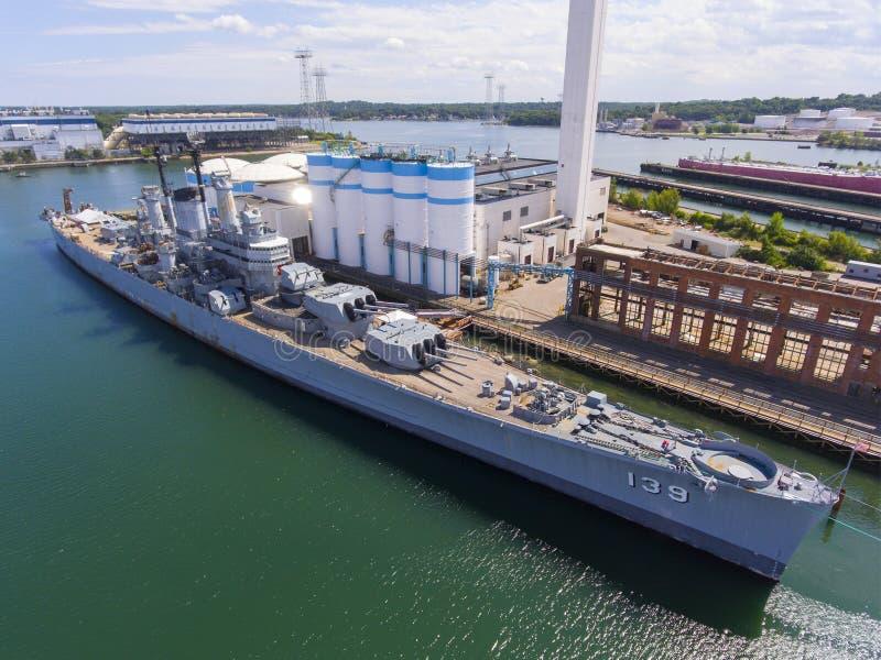 Crucero pesado de USS Salem CA-139, Quincy, mA, los E.E.U.U. foto de archivo