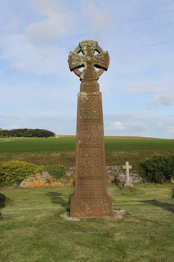 Cruces célticas, cementerio de las novias del santo, costa de Pembrokeshire fotografía de archivo libre de regalías