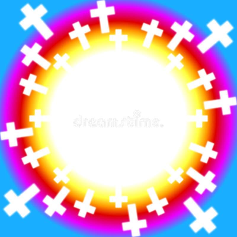 Cruces cristianas alrededor de un arco iris ilustración del vector