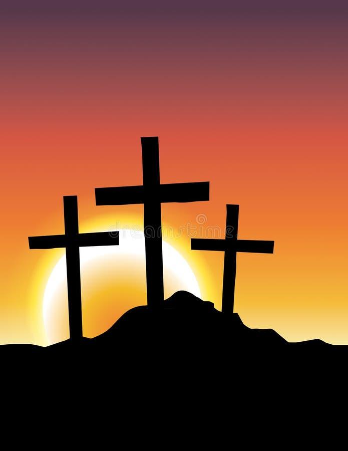 Cruces de Calvary en el ejemplo de la salida del sol stock de ilustración