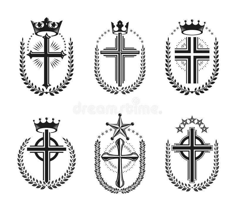 Cruces de los emblemas de la religión del cristianismo fijados Capa heráldica de A ilustración del vector