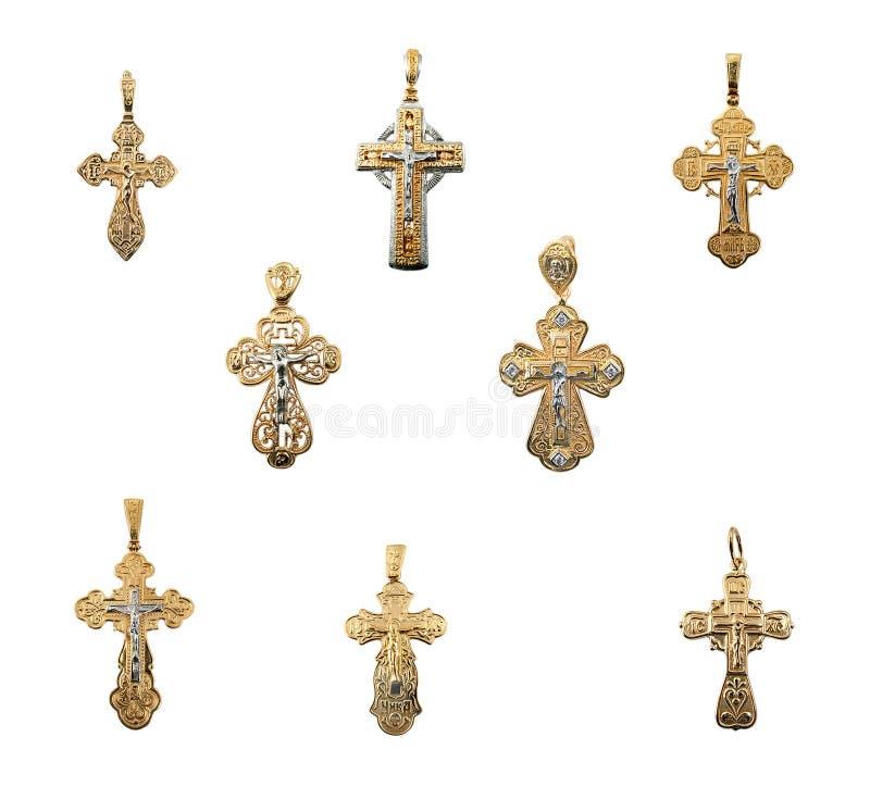 Cruces de oro de la joyería fotos de archivo libres de regalías
