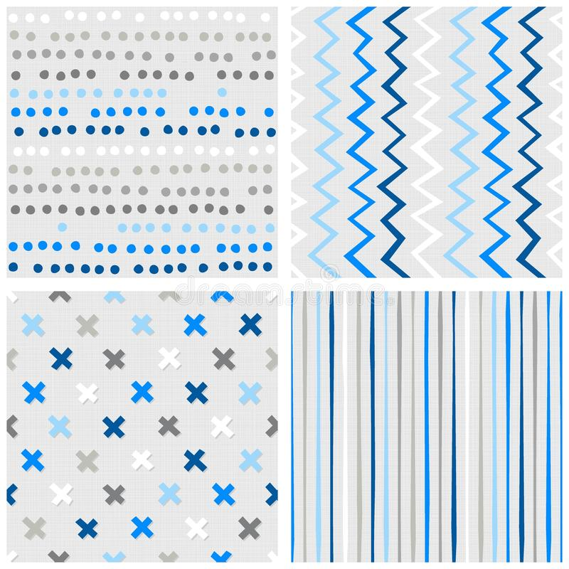 Cruces del galón de los puntos y sistema inconsútil azul del modelo de las rayas ilustración del vector