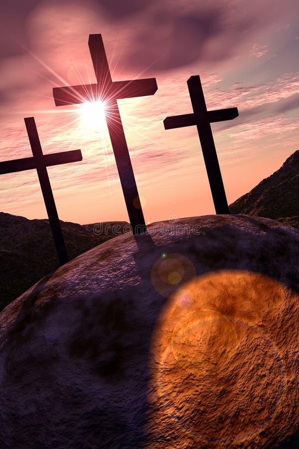 Cruces en Golgotha stock de ilustración