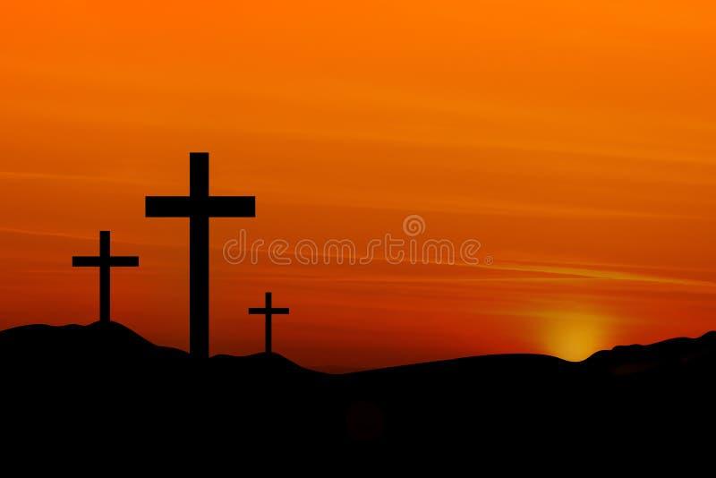 Cruces en la puesta del sol stock de ilustración