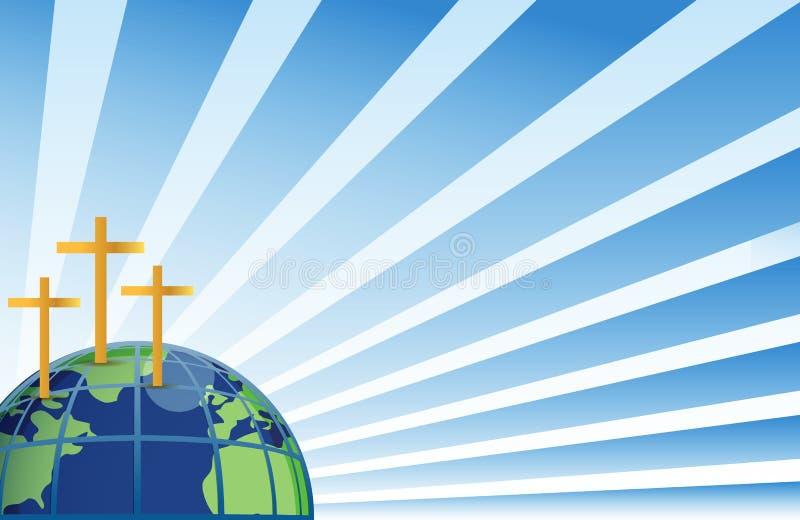 Cruces santas en la tapa de la tierra ilustración del vector