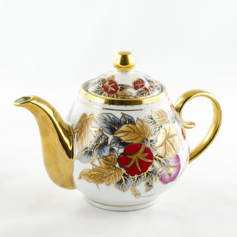 Cruche antique de porcelaine avec le motif fait main de fleur photo libre de droits