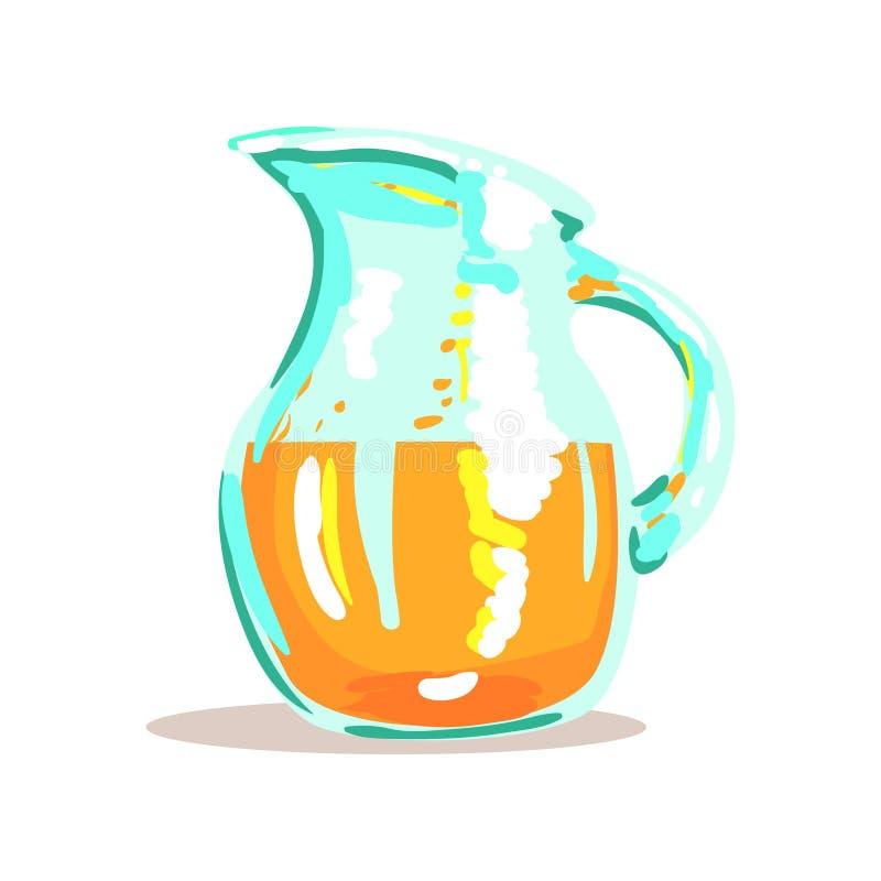 Cruche en verre avec l'illustration orange serrée fraîche de Juice Drink Cool Style Bright illustration libre de droits