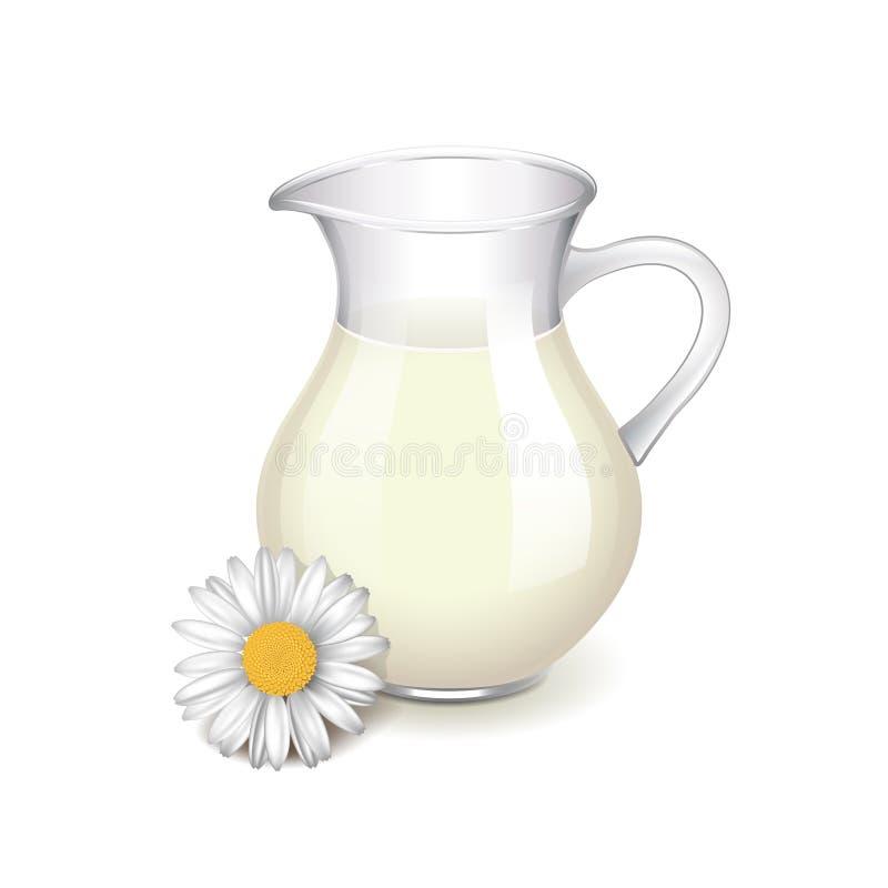 Cruche en verre avec le vecteur de lait et de camomille illustration de vecteur