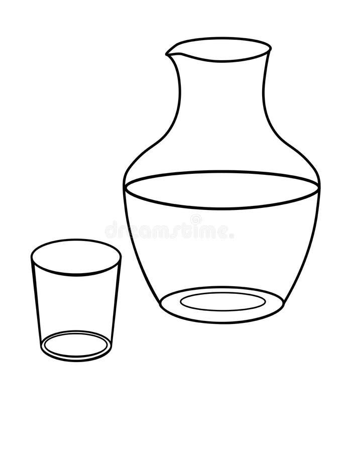 Cruche et un verre pour l'eau assiettes Décanteur en verre et dessin linéaire en verre pour la coloration illustration stock