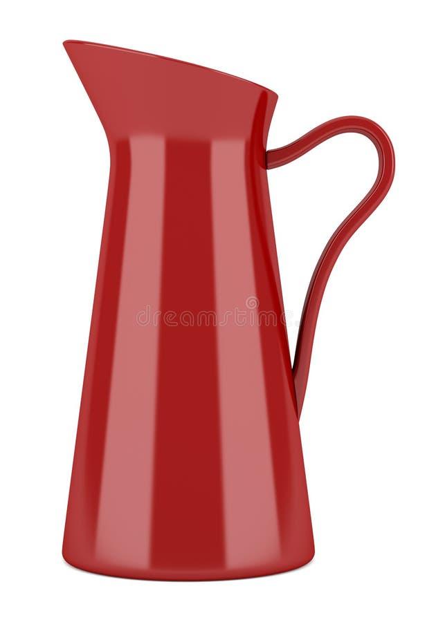 Cruche rouge et théière en céramique d'isolement sur le blanc illustration stock