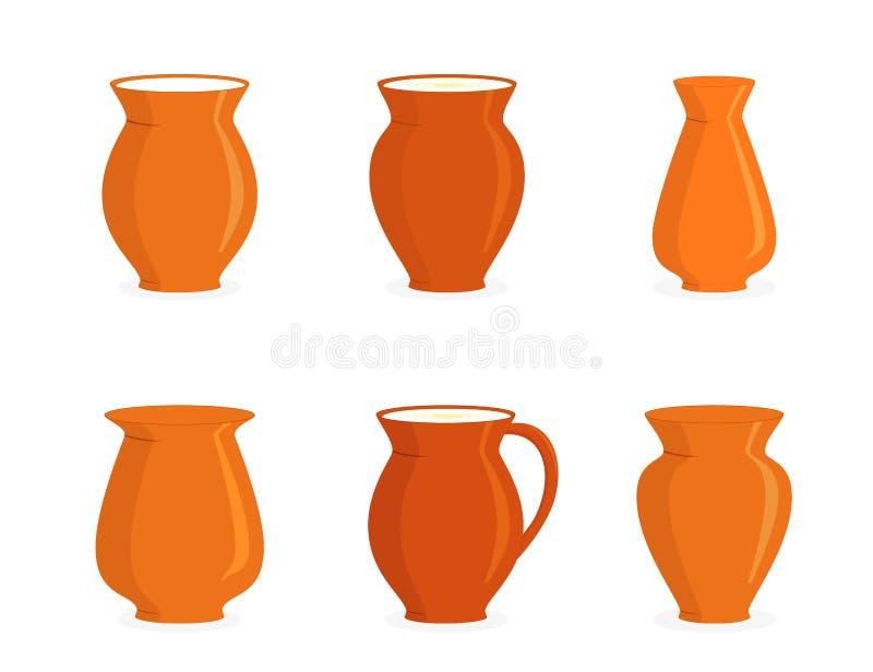 Cruches de poterie réglées illustration stock