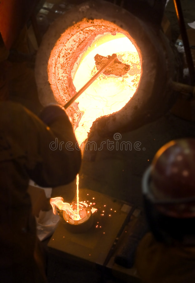 Crucible, Skimmer & Flaming Mold royalty free stock photo