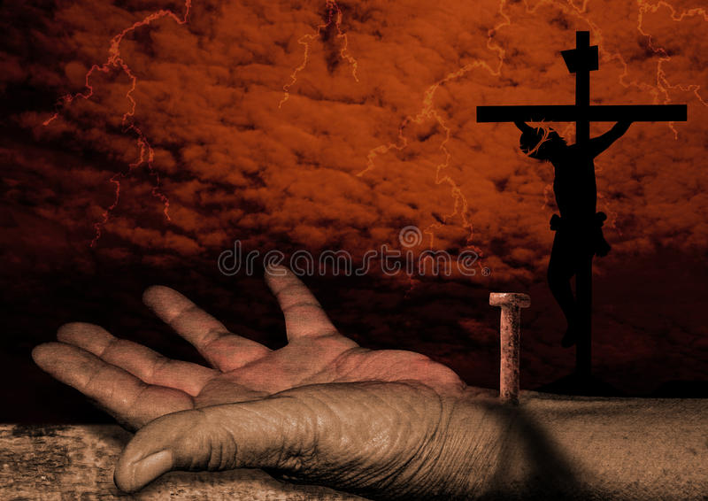 Crucificação de Christ ilustração do vetor