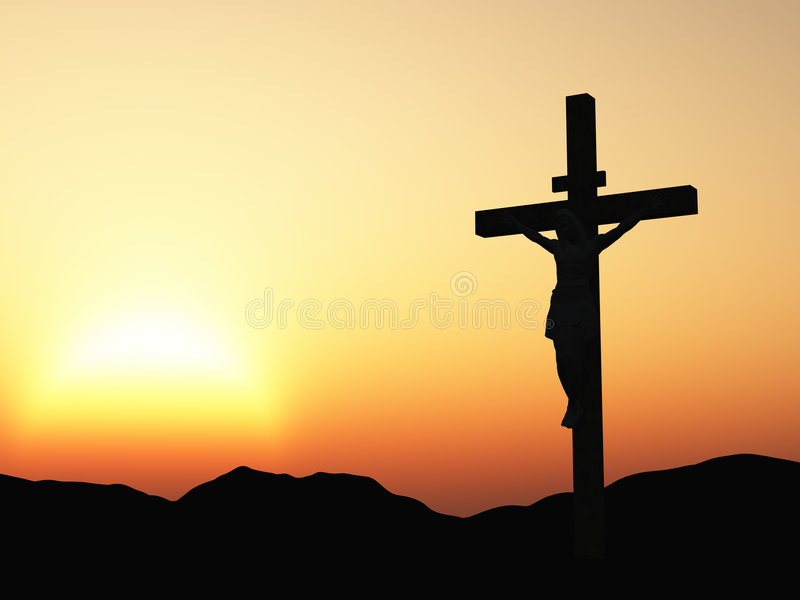 Crucificação e por do sol ilustração stock