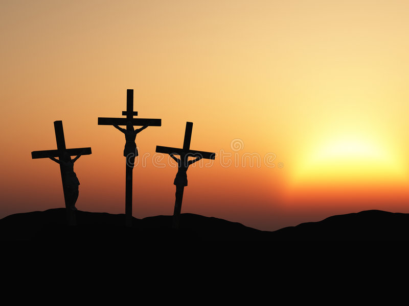 Crucificação e por do sol vermelho ilustração royalty free