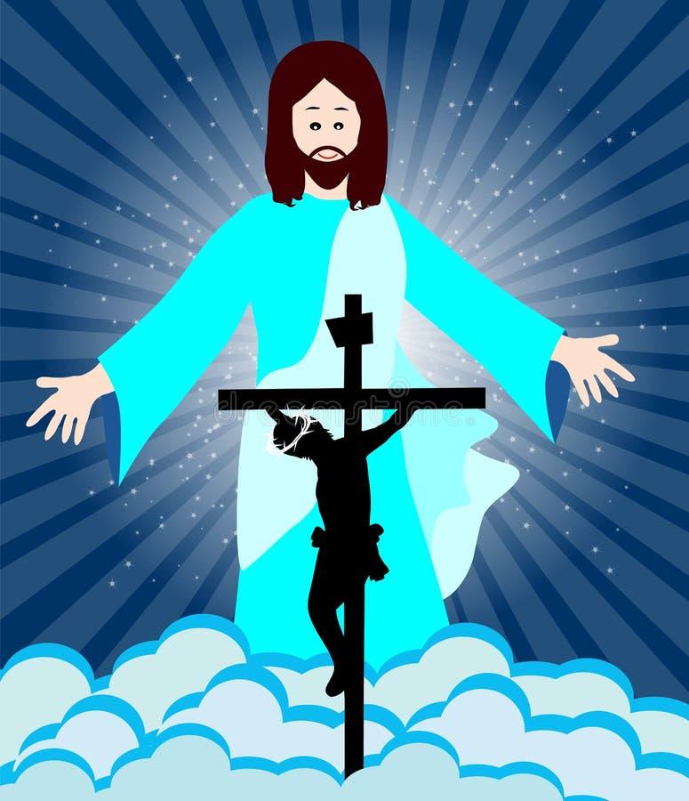 Crucificação e ressurreição de Jesus Christ ilustração royalty free