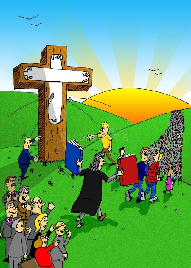 Crucificação pela sociedade ilustração royalty free