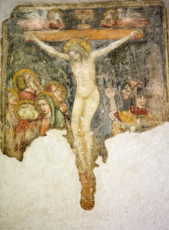Crucificado, fresco en el museo de Castelvecchio Verona, fotografía de archivo libre de regalías