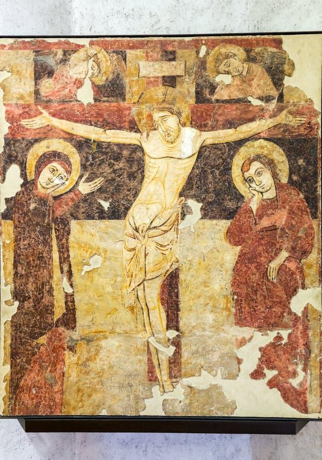Crucificado, fresco en el museo de Castelvecchio verona foto de archivo