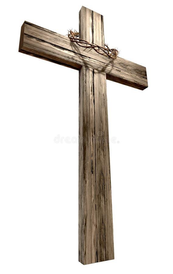 Crucifijo de madera con la corona de espinas fotos de archivo libres de regalías