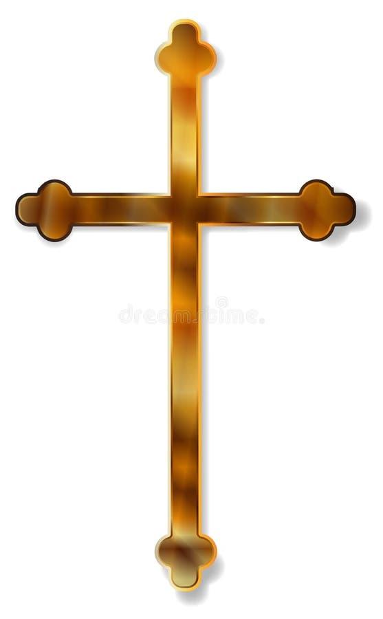 Crucifijo de oro aislado stock de ilustración
