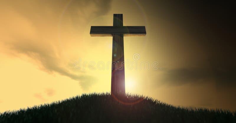Crucifijo en una colina en el amanecer libre illustration