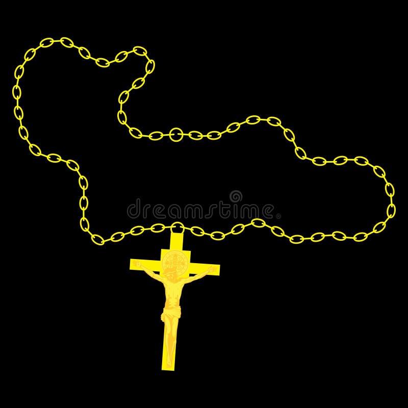 Crucifijo y cadena de oro Accesorios cristianos ilustración del vector