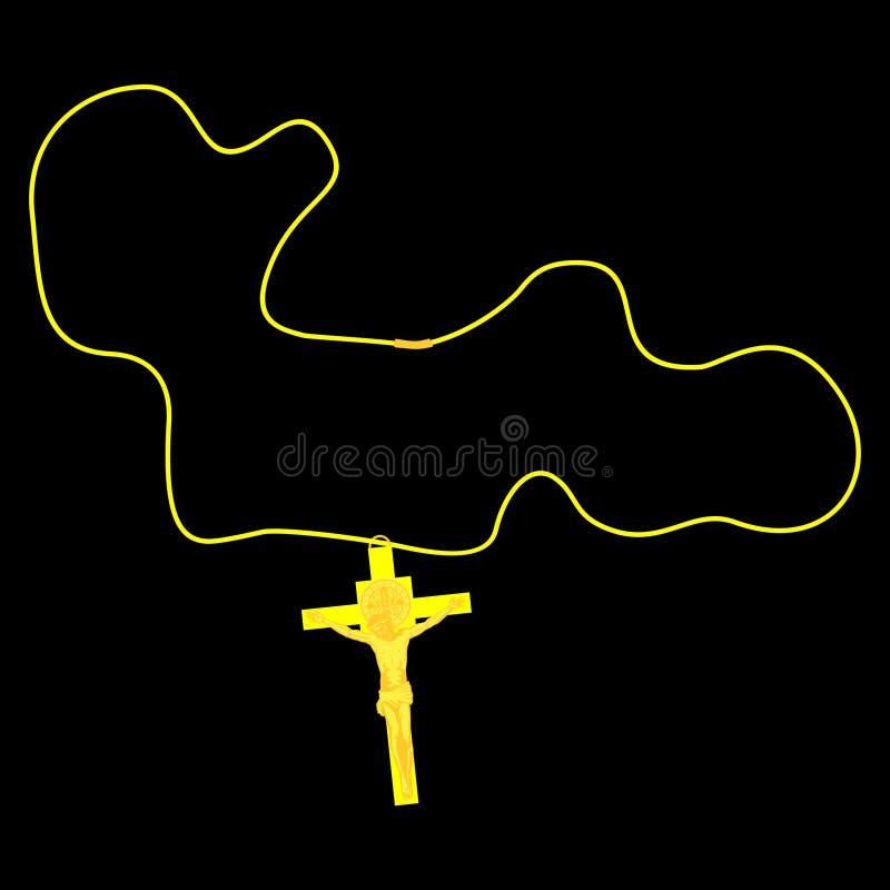 Crucifijo y cuerda de oro Símbolos cristianos stock de ilustración