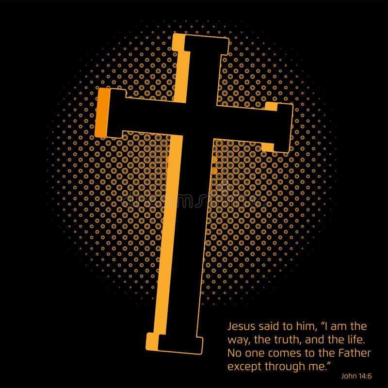 Crucifijo y evangelio ilustración del vector