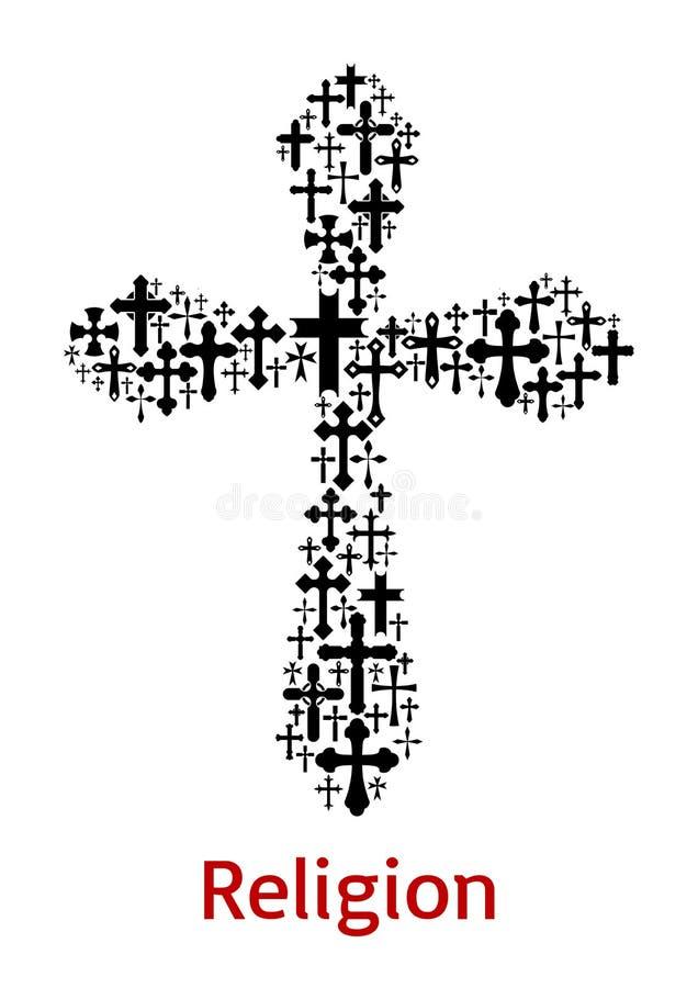 Crucifix διαγώνιο διανυσματικό εικονίδιο συμβόλων θρησκείας διανυσματική απεικόνιση