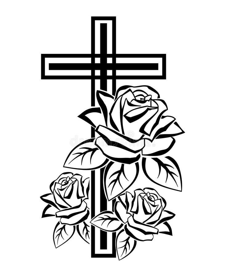 Crucifix με τα τριαντάφυλλα ελεύθερη απεικόνιση δικαιώματος