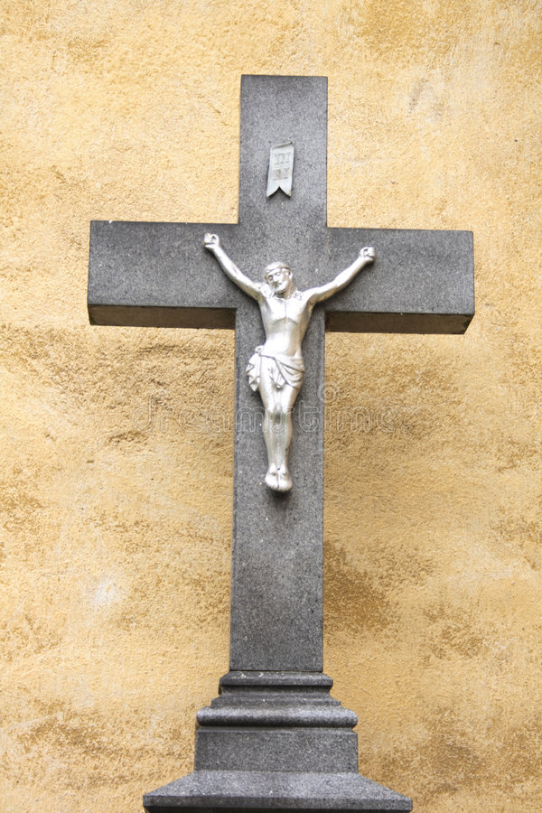 Crucifix. With the jesus from the czech church stock images